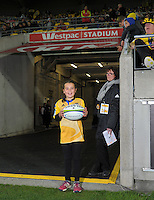 The Hurricane for a Day during the Super Rugby match between the Hurricanes and Blues at Westpac Stadium, Wellington, New Zealand on Saturday, 2 July 2016. Photo: Dave Lintott / lintottphoto.co.nz