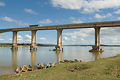 Ibotirama, Bahia State, Brazil. Sao Francisco River; wooden river boats moored, bridge.