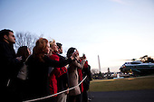 White House visitors watch as United STates President Barack Obama arrives on the South Lawn of the White House aboard Marine One, following his trip to Elyria, Ohio, Friday, January 22, 2010. .Mandatory Credit: Samantha Appleton - White House via CNP