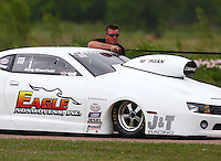 Apr 26, 2014; Baytown, TX, USA; NHRA pro stock driver Greg Stanfield during qualifying for the Spring Nationals at Royal Purple Raceway. Mandatory Credit: Mark J. Rebilas-