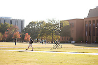 Drill Field students walking - fall leaves.<br />  (photo by Megan Bean / &copy; Mississippi State University)