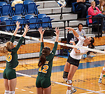 BROOKINGS, SD - OCTOBER 26:  Wagner Larson #11 from South Dakota State tries for a kill past Hadley Steffen #10 and Emily Miron #12 from North Dakota State in the first game of their match Saturday evening at Frost Arena in Brookings. (Photo by Dave Eggen/Inertia)