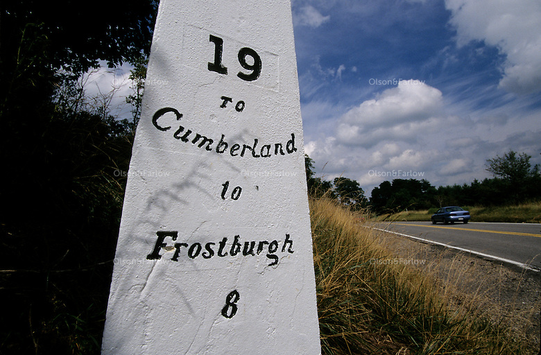 Historic mile markers placed along the road record the number of miles to the next community along the National Road. This marker is a reproduction found west of Frostburg, MD. Construction began in Cumberland, MD in 1811 on the National Road, America's first highway built with federal funds.