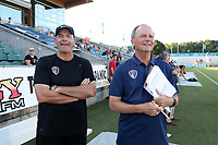 Cary, North Carolina  - Saturday August 05, 2017: Bill Palladino and Anson Dorrance prior to a regular season National Women's Soccer League (NWSL) match between the North Carolina Courage and the Seattle Reign FC at Sahlen's Stadium at WakeMed Soccer Park. The Courage won the game 1-0.