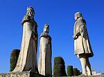 Columbus, King Ferdando and Queen Isabel statues in garden of Alcazar, Cordoba, Spain, Alcázar de los Reyes Cristianos