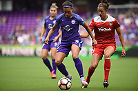 Orlando, FL - Saturday April 22, 2017: Kristen Edmonds, Havana Solaun during a regular season National Women's Soccer League (NWSL) match between the Orlando Pride and the Washington Spirit at Orlando City Stadium.