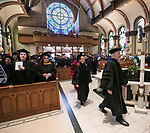 DePaul University faculty and staff mark the beginning of the 120th school year during Academic Convocation at the St. Vincent de Paul Parish Church Thursday, Aug. 31, 2017, on the Lincoln Park campus. Marten denBoer, provost, provided remarks, and many faculty and staff were recognized with annual awards as part of the annual celebration. (DePaul University/Jamie Moncrief)