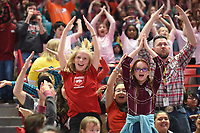 NWA Democrat-Gazette/DAVID GOTTSCHALK Kailynn Cornelison (left), a fifth grade student from Harp Elementary School in Springdale, dances Friday, November 8, 2019 during the University of Arkansas Razorback and University of New Orleans women's basketball game at Bud Walton Arena on the campus in Fayettville. Students from Northwest Arkansas elementary schools attended the annual Elementary School Day basketball game on the campus.