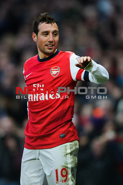 Arsenal Midfielder Santi Cazorla (ESP) celebrates after scoring a goal during the match -  - 18/01/14 - SPORT - FOOTBALL - Emirates Stadium - Arsenal v Fulham - Barclays Premier League.<br /> Foto nph / Meredith<br /> <br /> ***** OUT OF UK *****