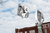 "Balloons featuring George Washington saying ""#Get Money Out"" float outside the New Hampshire State House in Concord, New Hampshire. The balloons were put up by Stamp Stampede, an organization working to end the influence of money in politics."