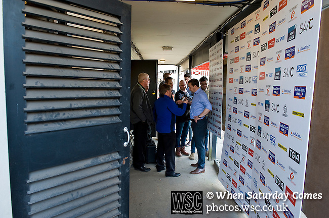 Newport County 1 Exeter City 1, 16/03/2014. Rodney Parade, League Two. Newport County finally return to the Football league after years of turmoil but a poor run of results has dented hopes of reaching the play-offs while Exeter City battle relegation. Justin Edinburgh conducts interviews in the tunnel area after the 1-1 draw. Photo by Simon Gill