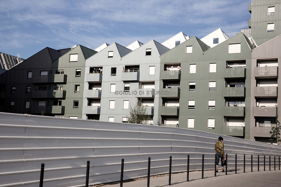 """The neighborhood of """" bassins in flot """" in the north of the city , with its new buildings"""
