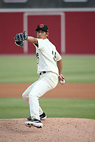 Shumpei Yoshikawa (35) of the Visalia Rawhide pitches against the Modesto Nuts at Recreation Ballpark on June 10, 2019 in Visalia, California. (Larry Goren/Four Seam Images)