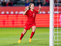 CARSON, CA - FEBRUARY 07: Allysha Chapman #2 of Canada celebrates during a game between Canada and Costa Rica at Dignity Health Sports Park on February 07, 2020 in Carson, California.