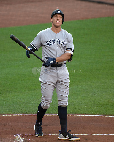 New York Yankees right fielder Aaron Judge (99) bats in the first inning against the Baltimore Orioles at Oriole Park at Camden Yards in Baltimore, MD on Tuesday, July 10, 2018.<br /> Credit: Ron Sachs / CNP<br /> (RESTRICTION: NO New York or New Jersey Newspapers or newspapers within a 75 mile radius of New York City) Credit: Ron Sachs/MediaPunch