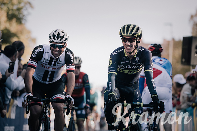former teammates Michael Matthews (AUS/Sunweb) & Adam Yates (GBR/Orica-Scott) on their way to sign-on<br /> <br /> Il Lombardia 2017 <br /> Bergamo to Como (ITA) 247km