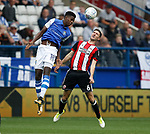 Lucas Jaoa of Sheffield Wednesday and Chris Basham of Sheffield Utd during the Championship match at the Hillsborough Stadium, Sheffield. Picture date 24th September 2017. Picture credit should read: Simon Bellis/Sportimage