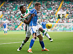 Celtic v St Johnstone...29.08.15  SPFL   Celtic Park<br /> Steven MacLean holds off Saidy Janko<br /> Picture by Graeme Hart.<br /> Copyright Perthshire Picture Agency<br /> Tel: 01738 623350  Mobile: 07990 594431