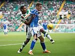 Celtic v St Johnstone...29.08.15  SPFL   Celtic Park<br /> Steven MacLean holds off Saidy Janko<br /> Picture by Graeme Hart.<br /> Copyright Perthshire Picture Agency<br /> Tel: 01738 623350  Mobile: 07990 594431