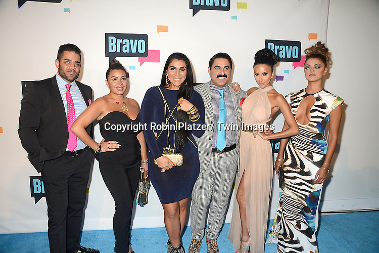 "cast of ""Shahs of Sunset"" arrive at the Bravo 2013  Upfront on April 3, 2013 at Pillars 37 Studio in New York City."
