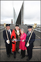 BNPS.co.uk (01202 558833)<br /> Pix: Richard Crease/BNPS<br /> <br /> Opening ceremony number 1: 25th February 2012 - The Mayor cut's a ribbon - bridge closed.<br /> <br /> Road to nowhere...Britain's worst bridge has closed yet again, and red faced council can only promise it will reopen in 'mid Autumn'.<br /> <br /> Bridge of sighs - A £37million bridge which has endured a litany of mishaps is now out of action again - until the mid-Autumn.<br /> <br /> The Twin Sails Bridge in Poole, Dorset, which is currently stuck in an upright position, has been plagued by numerous technical faults since it was unveiled amid much fanfare in 2012.<br /> <br /> It was previously out of action in November and December of last year, and for two weeks in February. <br /> <br /> The latest closure is a further blow to locals as the Sandbanks Ferry, which covers a 250ft stretch of water between Sandbanks and Studland, has been shut since July and will not run again until October - forcing motorists to make a 25 mile detour.<br /> <br /> It has sparked outrage on social media, with some labelling it an 'expensive white elephant'.