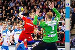 Tim Nothdurft (HBW Balingen-Weilstetten #11) ; Johannes Bitter (TVB Stuttgart #1) beim Spiel in der Handball Bundesliga, TVB 1898 Stuttgart - HBW Balingen-Weilstetten.<br /> <br /> Foto © PIX-Sportfotos *** Foto ist honorarpflichtig! *** Auf Anfrage in hoeherer Qualitaet/Aufloesung. Belegexemplar erbeten. Veroeffentlichung ausschliesslich fuer journalistisch-publizistische Zwecke. For editorial use only.
