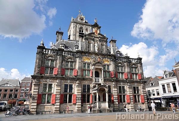 Nederland Delft - Augustus 2018. Het Stadhuis van Delft op het marktplein.   Foto Berlinda van Dam / Hollandse Hoogte