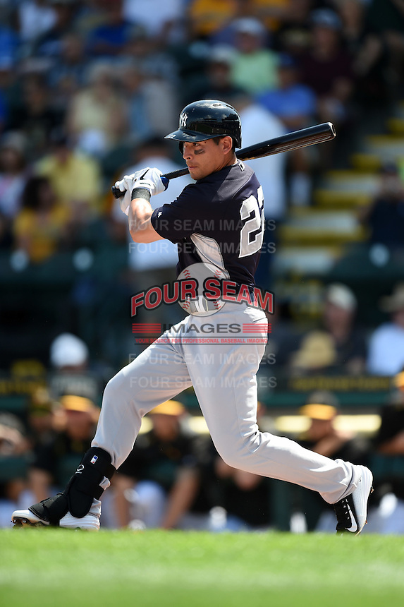 New York Yankees outfielder Jacoby Ellsbury (22) during a Spring Training game against the Pittsburgh Pirates on March 5, 2015 at McKechnie Field in Bradenton, Florida.  New York defeated Pittsburgh 2-1.  (Mike Janes/Four Seam Images)