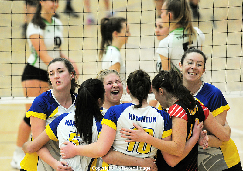 Hamilton players celebrate during the Volleyball NZ 50th National Club Championship match against East Coast Thunder at ASB Sports Centre in Wellington, New Zealand on Saturday, 12 October 2017. Photo: Dave Lintott / lintottphoto.co.nz