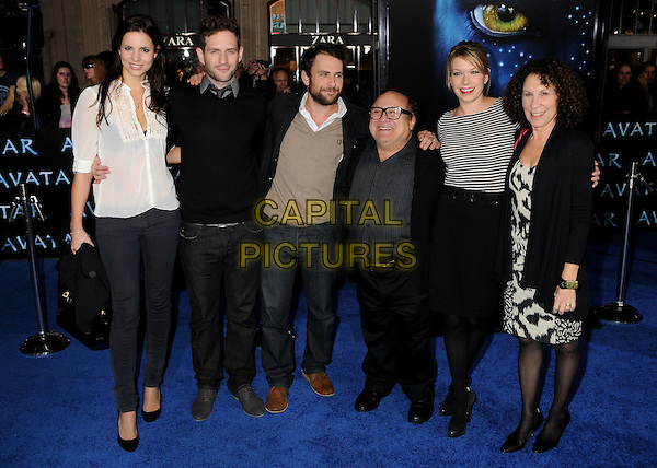 "Jill Latiano, Glenn Howerton, Charlie Day, Danny DeVito, Mary Elizabeth Ellis and Rhea Perlman.""Avatar"" Los Angeles Premiere held at Grauman's Chinese Theatre, Hollywood, California, USA, 16th December 2009..full length group shot white shirt blouse black jumper sweater top striped jacket print dress jeans skirt suit .CAP/ADM/BP.©Byron Purvis/Admedia/Capital Pictures"