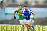 John Curran South Kerry in action against Con Barrett Kerins O'Rahillys in the Kerry Senior Football Championship Semi Final at Fitzgerald Stadium on Saturday.