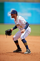 Montgomery Biscuits first baseman Dalton Kelly (9) during a Southern League game against the Mobile BayBears on May 2, 2019 at Riverwalk Stadium in Montgomery, Alabama.  Mobile defeated Montgomery 3-1.  (Mike Janes/Four Seam Images)