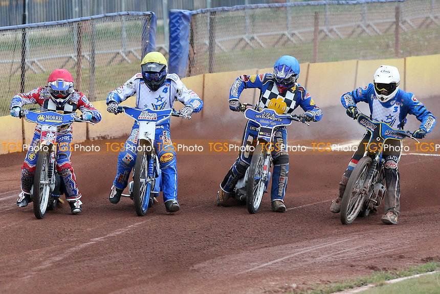 Heat 3: David Mason (red), Lewis Kerr (yellow), Oliver Rayson (white) and Ben Hopwood off the start - Hackney Hawks vs King's Lynn Young Stars - National League Speedway at Rye House - 07/05/11 - MANDATORY CREDIT: Gavin Ellis/TGSPHOTO - Self billing applies where appropriate - Tel: 0845 094 6026