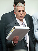 """United States Representative Trey Gowdy (Republican of South Carolina), Chairman, US House Committee on Oversight and Government Reform, arrives to hear testimony from FBI Deputy Assistant Director Peter Strzok who will appear during a joint hearing of his committee and the US House Committee on the Judiciary on """"Oversight of FBI and DOJ Actions Surrounding the 2016 Election"""" on Capitol Hill in Washington, DC on Thursday, July 12, 2018. <br /> Credit: Ron Sachs / CNP<br /> (RESTRICTION: NO New York or New Jersey Newspapers or newspapers within a 75 mile radius of New York City)"""
