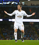 Swansea's Gylfi Sigurosson dejected after a disallowed goal - Manchester City vs Swansea - Barclays Premier League - Etihad Stadium - Manchester - 12/12/2015 Pic Philip Oldham/SportImage