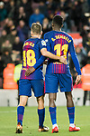 Jordi Alba Ramos (L) and Ousmane Dembele of FC Barcelona react during the Copa Del Rey 2017-18 Round of 16 (2nd leg) match between FC Barcelona and RC Celta de Vigo at Camp Nou on 11 January 2018 in Barcelona, Spain. Photo by Vicens Gimenez / Power Sport Images