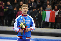 SHORT TRACK: TORINO: 15-01-2017, Palavela, ISU European Short Track Speed Skating Championships, Podium 1000m Men, Semen Elistratov (RUS), ©photo Martin de Jong