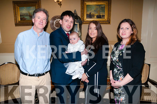 Baby Sadbh Whelen with her parents Peter Whelen & Norma McElligott and god parents Martin McElligott & Brid Whelan who was christened in St. Peter & Paul's Church, Ballyduff by Fr. Walsh on Saturday last and afterwards at the Listowel Arms Hotel.