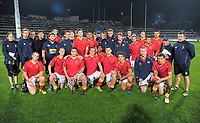 The Francis Douglas team poses for a team photo after 1st XV rugby union match between New Plymouth Boys' High School and Francis Douglas Memorial College at Yarrow Stadium in New Plymouth, New Zealand on Saturday, 6 May 2017. Photo: Dave Lintott / lintottphoto.co.nz