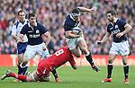 Alasdair Dickinson of Scotland tackled by Dan Lydiate of Wales  - RBS 6Nations 2015 - Scotland  vs Wales - BT Murrayfield Stadium - Edinburgh - Scotland - 15th February 2015 - Picture Simon Bellis/Sportimage
