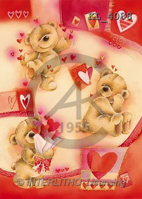 Interlitho, Andrea, VALENTINE, paintings, 3 bears, hearts(KL4088,#V#) illustrations, pinturas ,everyday