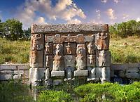 Eflatun Pınar ( Eflatunpınar) Ancient Hittite relief sculpture monument and sacred pool, and its Hittite relief scultures of Hittite gods.  Between 15th to 13th centuries BC. Lake Beysehir National Park, Konya, Turkey.