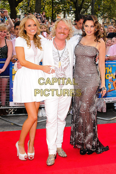 Rosie Parker , Leigh Francis as Keith Lemon and Kelly Brook.World Premiere of 'Keith Lemon: The Film' at the Odeon West End, Leicester Square, London, England..August 20th 2012.full length white suit feathers epaulettes snakeskin shoes dress one shoulder grey gray lace sparkly moustache mustache facial hair  .CAP/CJ.©Chris Joseph/Capital Pictures.