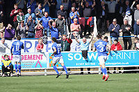 Queen of the South Fans jubilant with the opening goal in the SPFL Ladbrokes Championship Play Off semi final match between Queen of the South and Montrose at Palmerston Park, Dumfries on  11.5.19.