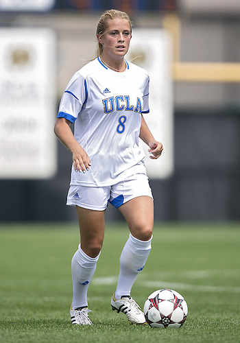 September 01, 2013:  UCLA defender Abby Dahlkemper (#8) dribbles the ball upfield during NCAA Soccer match between the Notre Dame Fighting Irish and the UCLA Bruins at Alumni Stadium in South Bend, Indiana.  UCLA defeated Notre Dame 1-0.
