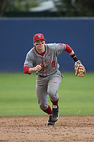 Ryan Ramsower (9) of the Washington State Cougars in the field during a game against the Loyola Marymount Lions at Page Stadium on February 26, 2017 in Los Angeles, California. Loyola defeated Washington State, 7-4. (Larry Goren/Four Seam Images)