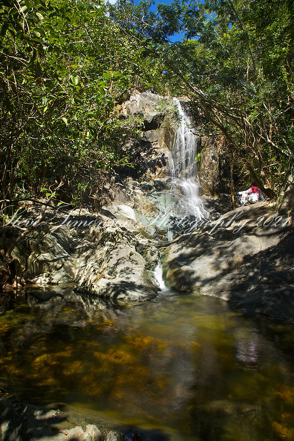 Enjoying solitude at the<br /> Reef Bay Waterfall and Petroglyphs<br /> Virgin Islands National Park<br /> St. John, US Virgin Islands