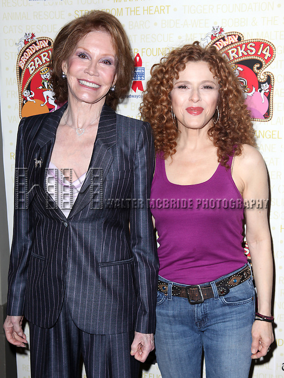 Mary Tyler Moore & Bernadette Peters .backstage at Broadway Barks 14 at the Booth Theatre on July 14, 2012 in New York City. Marking its 14th anniversary, Broadway Barks!, founded by Bernadette Peters and Mary Tyler Moore helps many of New York City's shelter animals find permanent homes and also inform New Yorkers about the plight of the thousands of homeless dogs and cats in the metropolitan area.