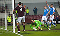 Hearts' John Sutton knocks the ball into the net but it was ruled off for offside.