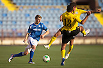 Alashkert FC v St Johnstone...02.07.15   Republican Stadium, Yerevan, Armenia....UEFA Europa League Qualifier.<br /> David Wotherspoon is closed down by Gevorg Poghosyan and Aram Bareghamyan<br /> Picture by Graeme Hart.<br /> Copyright Perthshire Picture Agency<br /> Tel: 01738 623350  Mobile: 07990 594431